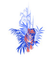 walking and snarling tiger surrounded by tropical vector image vector image