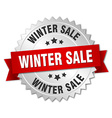 winter sale 3d silver badge with red ribbon vector image vector image