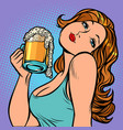 woman with a mug beer in profile vector image vector image