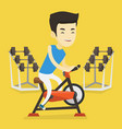 young man riding stationary bicycle vector image vector image