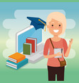 young woman with laptop education online vector image