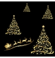 Abstract golden christmas tree on black background vector image