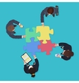 Business People team with gadgets and devices with vector image