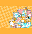 background with cute kawaii cats fun animal vector image