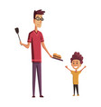 bbq party grill dad and son picnic with fresh vector image vector image