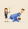 business woman is setting on fire the cannon to vector image vector image