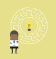 businessman with maze and finding direction vector image vector image