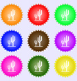 Cactus icon sign Big set of colorful diverse vector image