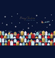 christmas and new year xmas town greeting card vector image vector image