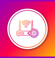 color router and wi-fi signal and gear line icon vector image vector image
