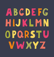 Colorful hand drawn doodle sans serif alphabet vector image