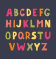 colorful hand drawn doodle sans serif alphabet vector image