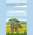 cute cartoon rhiniceros on background landscape vector image vector image