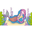 cute mermaid cartoon vector image
