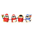 cute penguin friends celebrate winter holidays vector image vector image