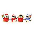 cute penguin friends celebrate winter holidays vector image