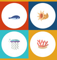 flat icon marine set of algae cachalot seashell vector image vector image