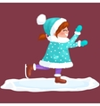 girl outdoor skating ice isolated fun winter vector image