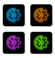 glowing neon clock and gear icon isolated on vector image vector image
