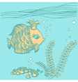 Gold fish with a crown in the sea environment