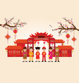 happy new year in china town with chinese boy and vector image vector image
