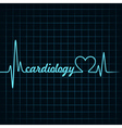 heartbeat make a cardiology text and heart symbol vector image vector image