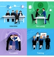 Human resources 4 flat icons square vector image vector image