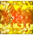 Jazz Saxophone Music and treble clef on a blurred vector image vector image