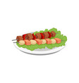 meat and salmon kebab grilled food on a skewers vector image