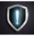 metal shield with a exclamation mark vector image vector image