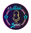 neon jazz music festival retro microphone circle b vector image