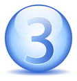 Number three button vector image vector image
