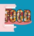 open mouth and food absorption of feed eat many vector image vector image
