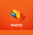 photo isometric icon isolated on color background vector image vector image