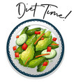 plate of salad with phrase diet time vector image vector image