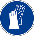 Protective Gloves Must Be Worn Safety Sign vector image vector image