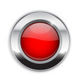 red round button glass 3d shiny icon with wide vector image vector image