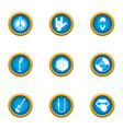 rock life icons set flat style vector image