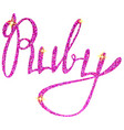 ruby name lettering tinsels vector image vector image