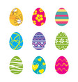 set easter eggs isolated in white background vector image vector image