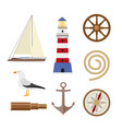set of flat cartoon style nautical objects vector image vector image