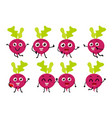 set of funny beetroot vegetable cartoon character vector image
