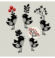 Set of strange birds with plants on their heads vector image