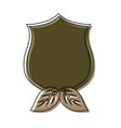 shield with leaves vector image