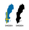 silhouette sweden on white color vector image vector image