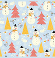 snowman seamless pattern with cute snowmen vector image vector image