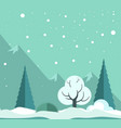 snowy winter forest vector image