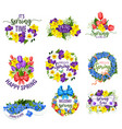 spring flowers wreath and floral bouquets vector image