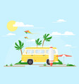 surfing bus on palm beach vector image