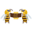 two big bee characters standing on hind legs and vector image